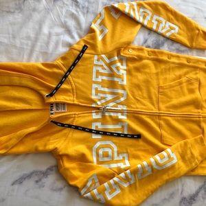 PINK sweatshirt in yellow gold side snap zip up